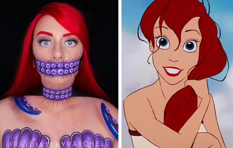 Девушка с помощью грима превращается в героев анимации